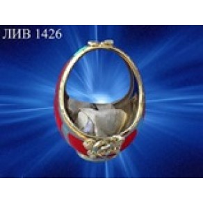 "Конфетница ""Корзина"" бархат-золото, арт. ЛИВ-1426, 20*17 см"