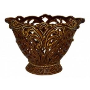 """Конфетница """"Камелия"""" резная коричневая, арт. ВВР-17541, 13*19 см"""