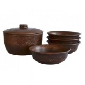 """Кашник, 2 л + 4 миски, 0,5 л, """"Декор"""", арт.  (Ив-12377), 15*20 см"""