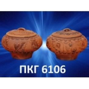 Чугунок малый, красн. глина, арт. (Пкг-6106), 0,8 л