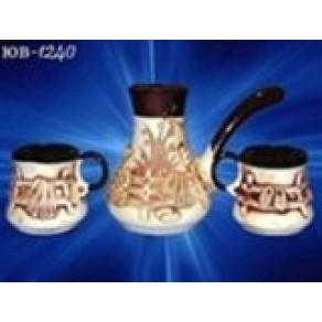 """Кофейный набор"""" Хуторок"""". Турка и 2 чашечки, арт. ЮВ-1240, 15*12 см"""
